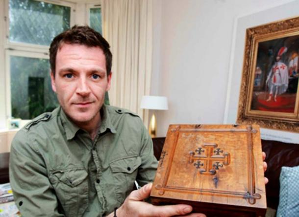 Author with his prized wooden Jerusalem Bible box displaying the Jerusalem Cross.