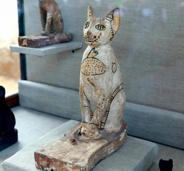 One of the wooden cat statues found in the tomb complex.