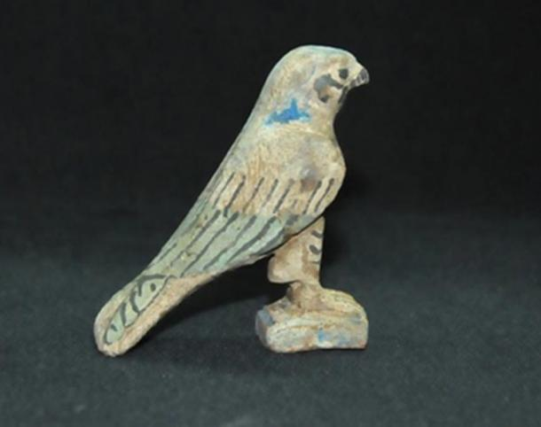 A wooden statue of Horus, the falcon-headed god and son of Osiris, considered a savior god of many people of ancient Egypt.