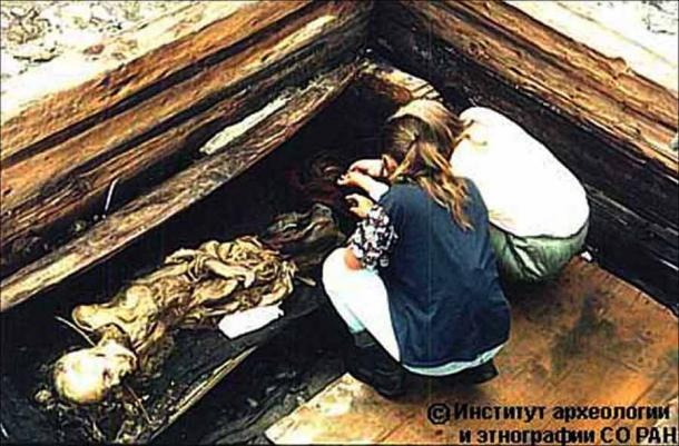 The wooden chamber where the Ice Maiden's remains were found in 1993, as reconstructed for her museum exhibit in eastern Russia. (Siberian Times)