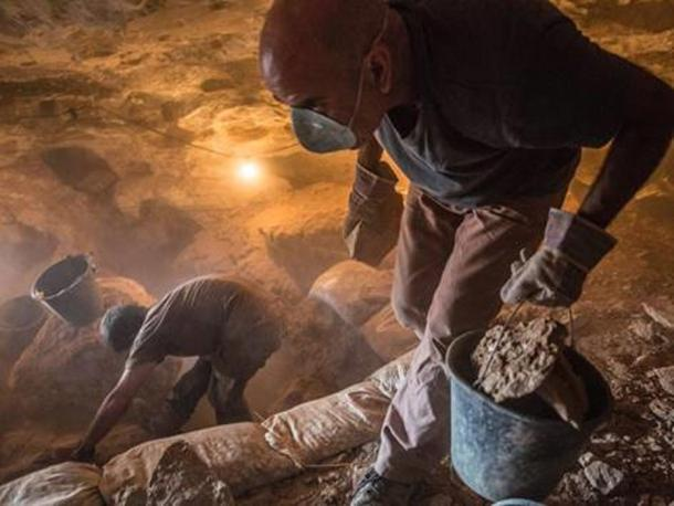 Volunteers at work in the archaeological excavation. Photographic credit: Yoli Shwartz, courtesy of the Israel Antiquities Authority.