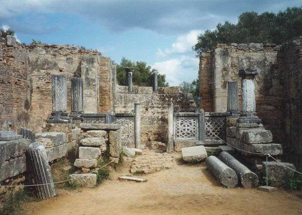 The supposed workshop of Phidias at Olympia, where it is said he fashioned the chryselephantine statue of Zeus, one of the Seven Wonders of the ancient World.