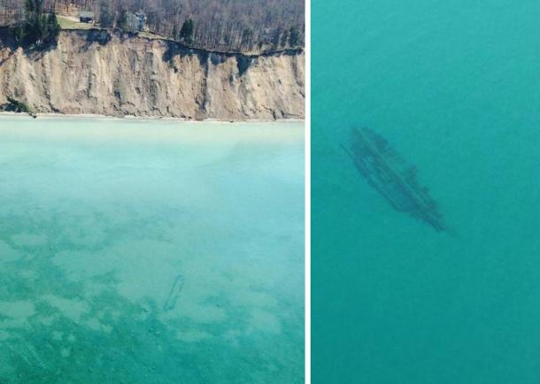 Left: A wreck in shallow water below cliffs. Right: Another unidentified wreck spotted in Lake Michigan