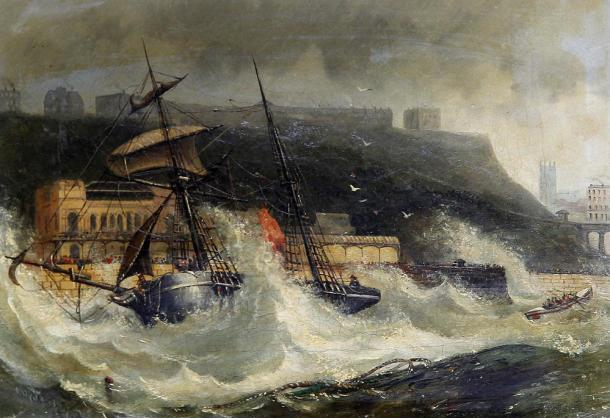 The wreck of the Copeland at South Shields, England, 2 November 1861.