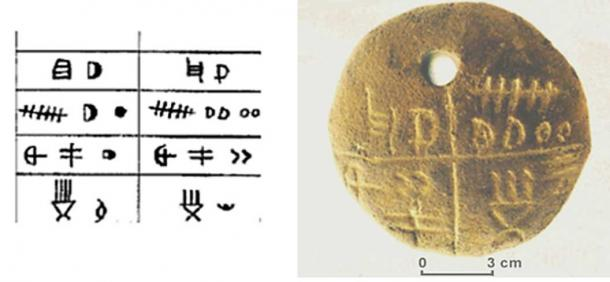 The writing on a Tărtăria tablet (author provided) with the corresponding amulet.