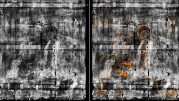 The x-ray revealed a Nativity scene (highlighted for easier viewing on the right). (Northumbria University and Bowes Museum)