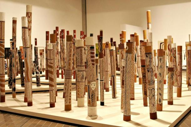 "Yolngu use hollow logs in traditional burial rituals. They are also an important ""canvas"" for their art, Aboriginal Memorial."