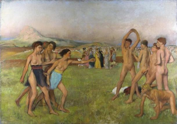 Young Spartan women and men exercise alongside each other. (Edgar Degas / Public domain)