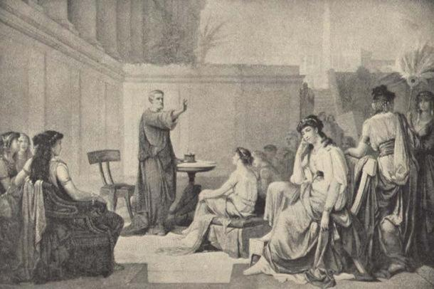 Illustration said to depict a younger Pythagoras teaching women