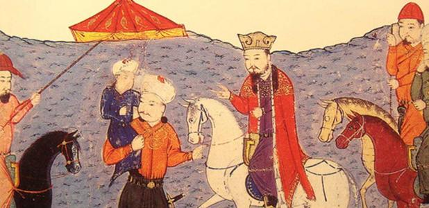 Abaqa On Horse, Arghun Standing, Ghazan As A Child. Mongol rulers Arghun and Abaqa were Buddhists. From the 14th century Universal History by Rashid-al-Din Hamadani.