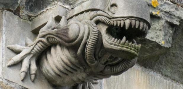 The Paisley Abbey alien gargoyle (image had been cropped). Source: Colin / CC BY-SA 2.0