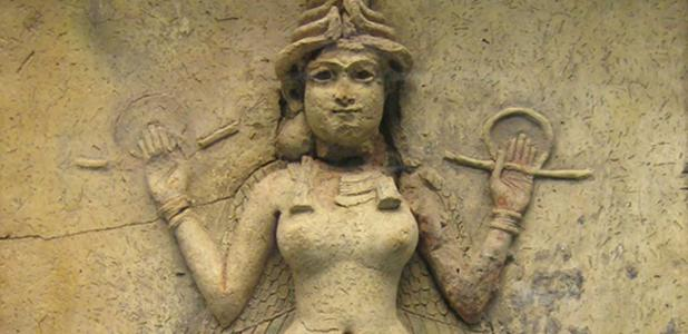 """The """"Burney Relief,"""" which is believed to represent either Ishtar, the Mesopotamian goddess of love and war, or her older sister Ereshkigal, Queen of the underworld (c. 19th or 18th century BC)."""