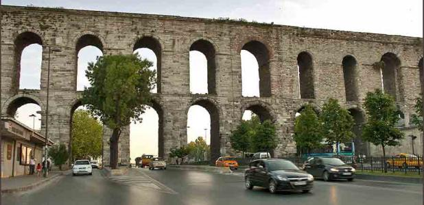 """The """"downtown"""" Istanbul Bozdoģan Kemeri bridge is one of the most famous sections of the Roman aqueduct of Constantinople."""