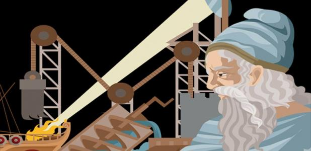 Archimedes with his famous inventions