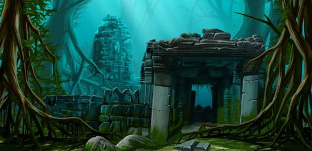 Ancient town ruins. Underwater background. Was Atlantis actually in India?