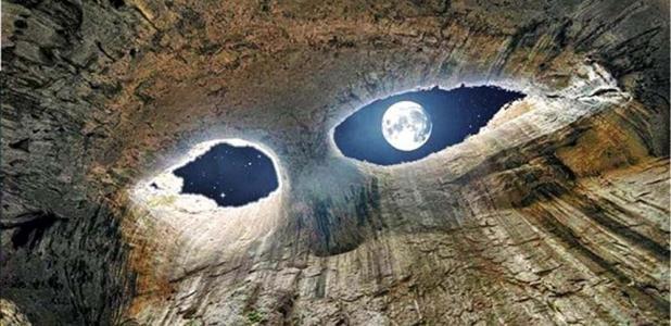 """The Eyes"" in the Prohodna Cave near Karlukovo, Bulgaria."