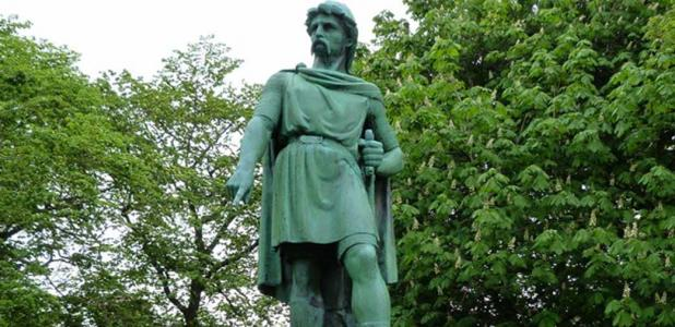 Statue of Rollo, Duke of Normandy in Ålesund, Norway. The Clameur de Haro is traditionally believed to have been a plea towards this ruler.