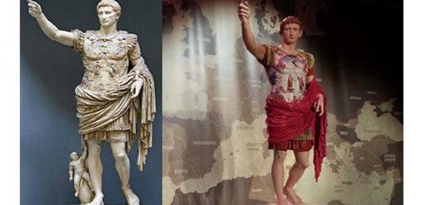This statue was originally painted. Left: Painted replica of Augustus of Prima Porta statue with pigments reconstructed for the Tarraco Viva 2014 Festival