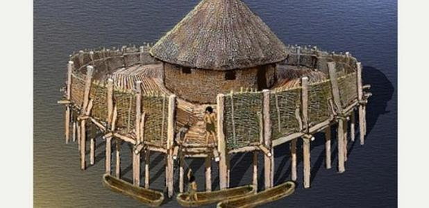 An artist's impression of the crannog at Monmouth by Peter Bere.