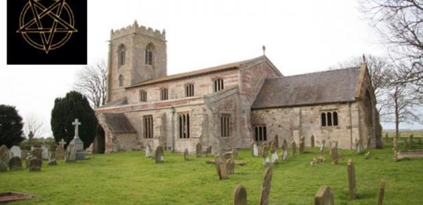 Main: The Church of St Botolph ('the demon church'), Skidbrooke.       Source: Dave Hitchborne / CC BY-SA 2.0. Inset: Burning flames on a pentagram/satanic symbol. Source: Sunshine Seeds / Adobe stock