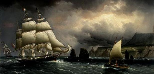 """Painting of the """"Flying Cloud"""" off the Isle of Wight, England."""