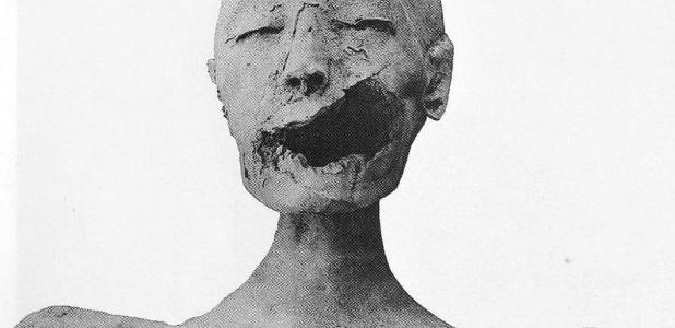 "Front view of the mummy of the ""Younger Lady""."
