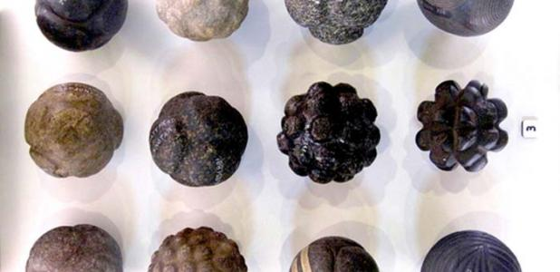 Figure 1. Geometric stone spheres. (Photo Credit: Martin Morrison, taken at Hunterian Museum, Glasgow)