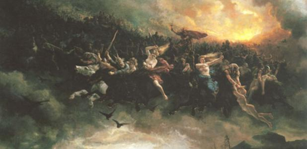 """The ride to Asgard"""" by Peter Nicolai Arbo. 1872."""