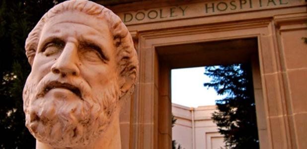 Hippocrates Statue and Dooley Hospital Door.Source: CC BY 2.0