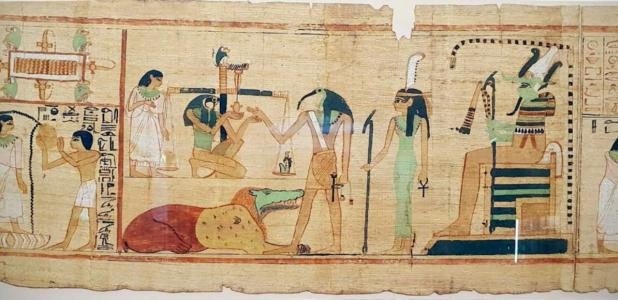 """A scene from the Books of the Dead (based at the Egyptian Museum) shows the ibis-headed god Thoth recording the result of """"the final judgement"""". Source: Wasef et al. - PLOS ONE / CC BY-SA 4.0."""