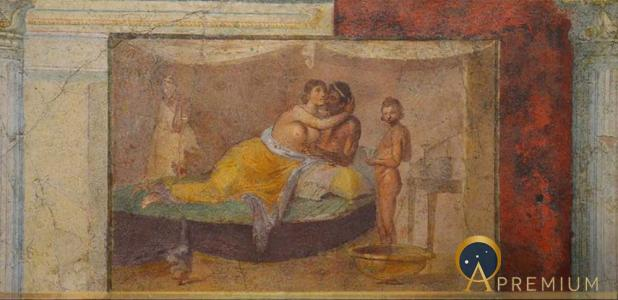 Fresco depicting an erotic scene, from the cubiculum of the villa of Marcus Vipsanius Agrippa, 1st century AD, Palazzo Massimo alle Terme, Rome. (CC BY-SA 2.0)
