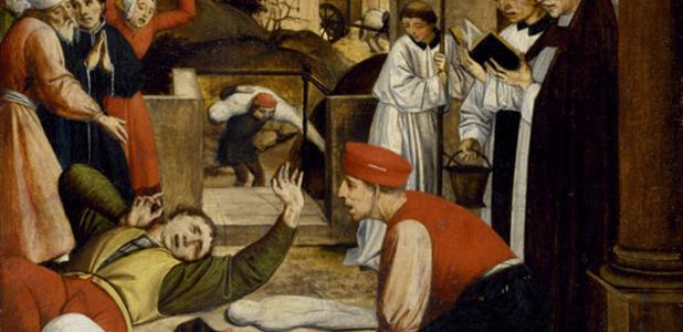 Artist's representation of a scene during the Justinianic plague.