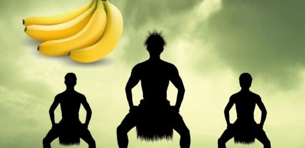Main: Indigenous Polynesians. Credit: adrenalinapura / Adobe Stock. Inset: Bananas. Credit: Pongsak / Adobe Stock