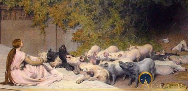 Circe and her swine by Briton Rivière (1896)(Public Domain)