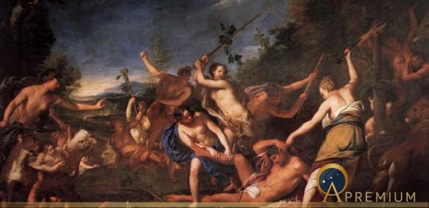 Orpheus and the Bacchantes by Gregorio Lazzarini (1710) (Public Domain)