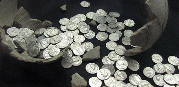 Example of Roman coins from a hoard at Llanvaches, Monmouthshire, Wales in 2006. Roman coins have been found in a few locations across Scandinavia as well.