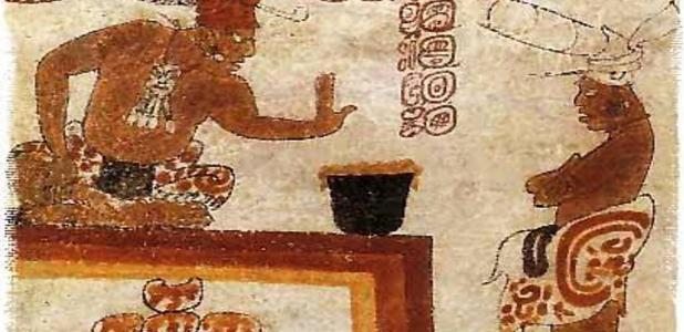 A Maya lord forbids an individual from touching a container of chocolate