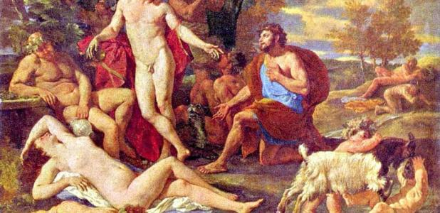 Midas and Dionysus by Poussin (1594-1665), showing the end of the myth in which Midas thanks Dionysus for freeing him of the gift/curse previously granted.