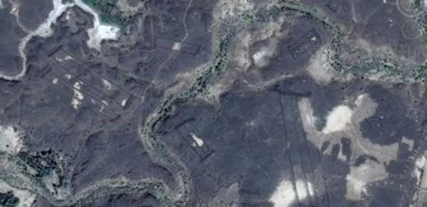 Google Earth image of manmade stone structures in Saudi Arabia