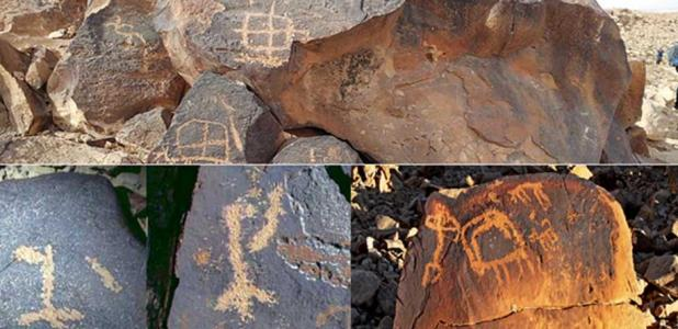 Top: A petroglyph portrays multiple symbols on Har Karkom ridge, Israel. (CC BY-SA 4.0). Bottom left: Instances of names of god found in rock art of the Negev as sited by Yehuda Rotblum.