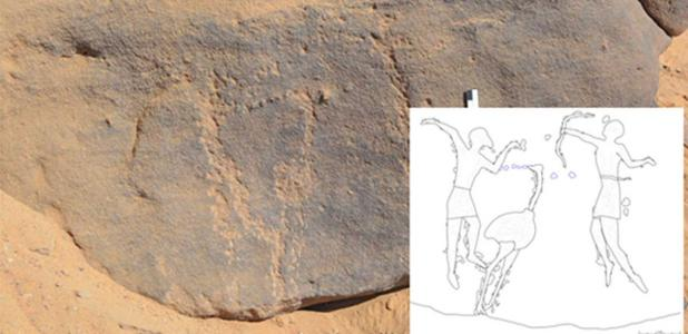The rock engravings, found at Qubbet el-Hawa, Egypt and dating to around 6000 years ago, can hardly be seen today.