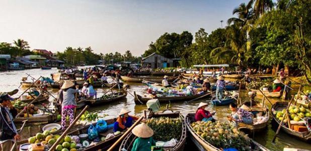 Modern Mekong Delta floating market, Vietnam. Still an area of extensive trade.