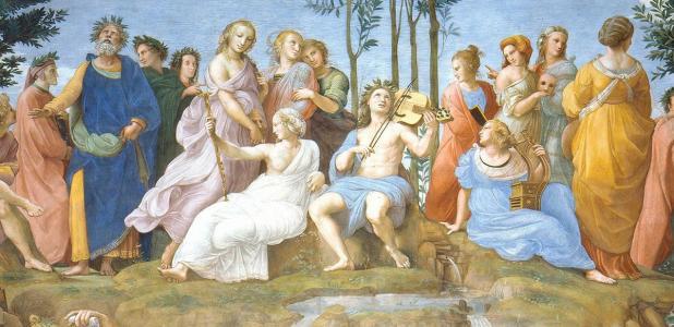 Apollo and the Nine Muses. Source: Erzalibillas / Public Domain.