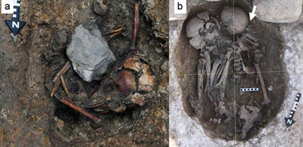 Two burials of individuals with signs of trauma found at Pacopampa, Peru.