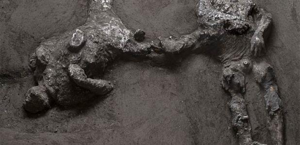 The casts of two men, believed to be a master and his young slave, have been unearthed in the excavation of a villa outside Pompeii. Source: Parco Archeologico di Pompei
