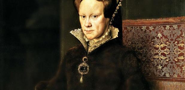 Detail of Portrait of Mary Tudor. Oil on panel by Antonio Moro. Prado Museum. Madrid Spain.