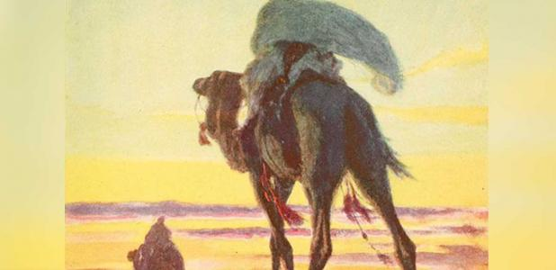 Muhammad and Abu Bakr flee Mecca, as depicted in 'The Outline of History'