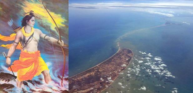 """""""Lord Rama got fed up with asking a non-responding Varuna (God of the oceans) to help him and took up the Brahmastra."""" (Fair Use) Ram Setu – a natural phenomenon or perhaps a manmade bridge built to save a queen?"""