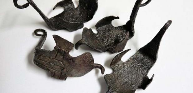 A set of four 'hipposandals' or Roman horseshoes found at Vindolanda.