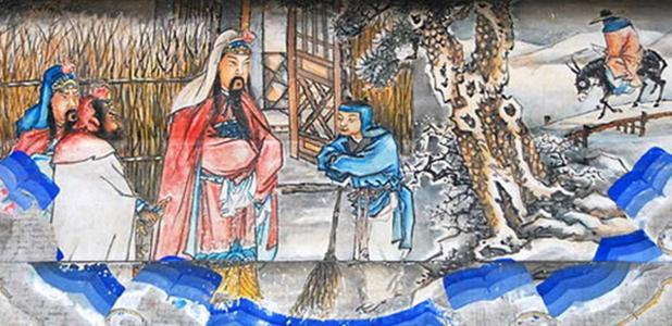 """""""Three visits to the thatched cottage"""" (三顧茅廬), the second visit is depicted here. Portrait at the Long Corridor of the Summer Palace, Beijing. This is a scene from the Romance of the Three Kingdoms."""